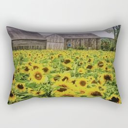 Summer Sunflower Fields, New England by Jeanpaul Ferro Rectangular Pillow