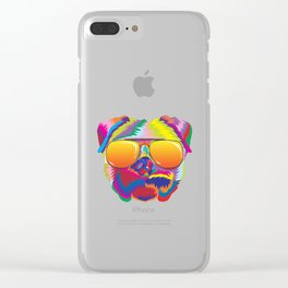 Psychedelic Pug Dog Face with Sunset Sunglasses Clear iPhone Case