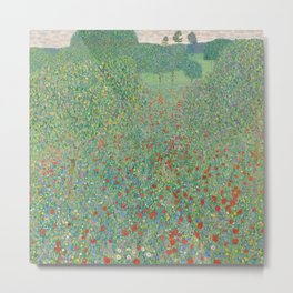 Field of Poppies by Gustav Klimt Metal Print