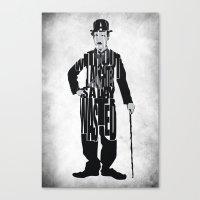 charlie chaplin Canvas Prints featuring Charlie Chaplin by Ayse Deniz