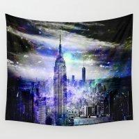 new york skyline Wall Tapestries featuring New York Skyline by haroulita