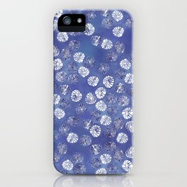 Abstract botanical monstera palm leaf pattern - classic blue iPhone Case