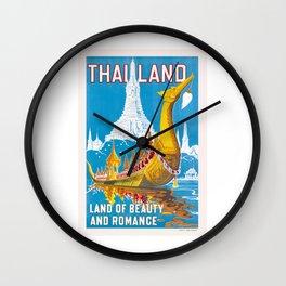 1950 Thailand Royal Barge Travel Poster Wall Clock