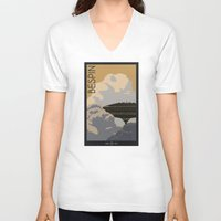 travel poster V-neck T-shirts featuring Bespin Travel Poster by Tawd86