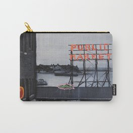 Pike Place Market - Black & White & Neon -Seattle Washginton Carry-All Pouch