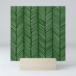 Forest Green Herringbone Mini Art Print