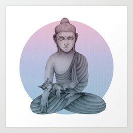 Buddha with cat1 Art Print