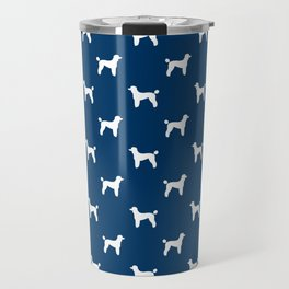 Poodle silhouette blue and white minimal modern dog art pet portrait dog breeds Travel Mug