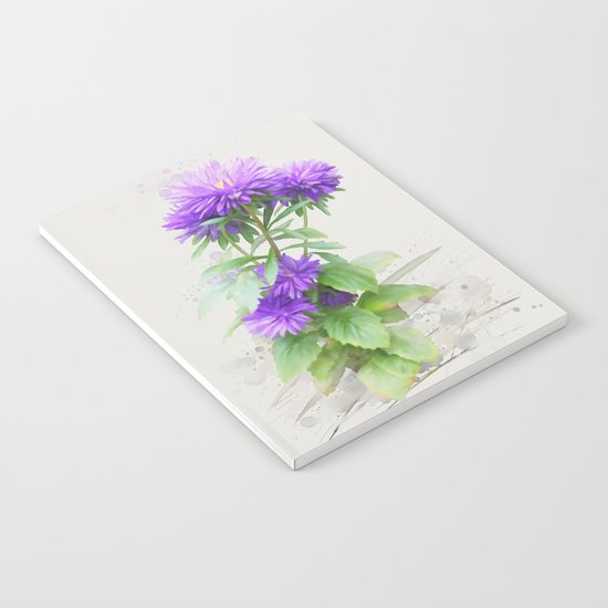 Purple Flowers, watercolors Notebook
