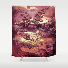 pink Christmas landscape Shower Curtain