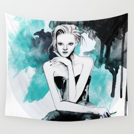 Watercolour Fashion Illustration Portrait Young & Beautiful Blue Wall Tapestry