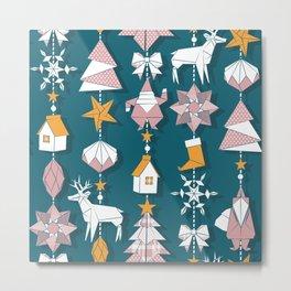Origami Christmas Dream Catcher Metal Print