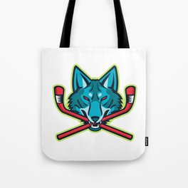 Coyote Ice Hockey Sports Mascot Tote Bag