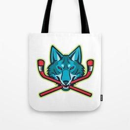 Coyote Ice Hockey Sports Mascot Tote Bag