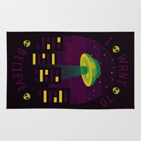 i want to believe Area & Throw Rugs featuring I WANT TO BELIEVE by badOdds