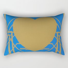 Heart Deco: Gaslight Blues Rectangular Pillow