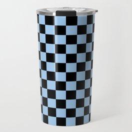 Black and Baby Blue Checkerboard Travel Mug