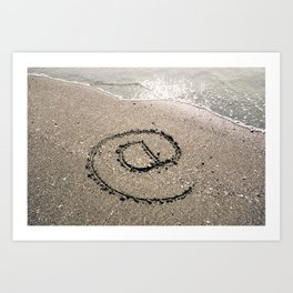 At Sign Written on Sand Art Print