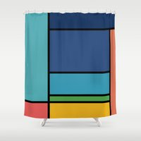 ponyo Shower Curtains featuring The Colors of / Mondrian Series - Ponyo- Miyazaki by hyos