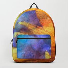 Sunflower Flower Floral on colorful watercolor texture Backpack