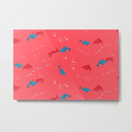 Pink Shark and Dolphin Metal Print