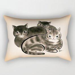Black cat family Rectangular Pillow