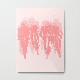 Cyclists in the sprint pink Metal Print
