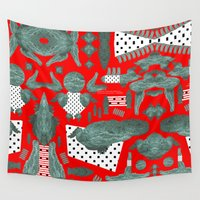 crocodile Wall Tapestries featuring crocodile by BUBUBABA