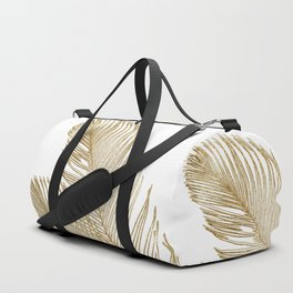 Palm Leaves Finesse Line Art with Gold Foil #2 #minimal #decor #art #society6 Duffle Bag