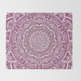 Wine Maroon Ethnic Detailed Textured Mandala Throw Blanket