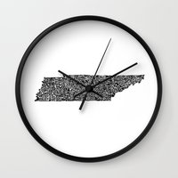 tennessee Wall Clocks featuring Typographic Tennessee by CAPow!