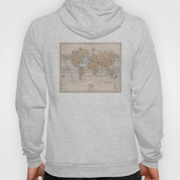 Vintage Map of The World (1884) Hoody