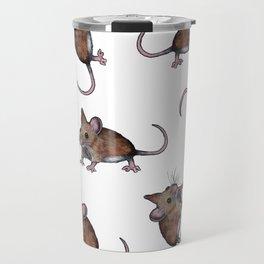 Cute Brown Field Mice, Mouse, Oil Pastel Art, Pattern Travel Mug