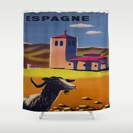 Espagne - Spain - Vintage French Travel Poster Shower Curtain