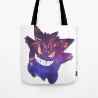 gengar Tote Bags featuring Galaxy Gengar by Visual Declaration