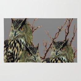 FOREST  WOODS OWL FAMILY GREY ART DESIGN  ART Rug