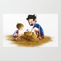neil gaiman Area & Throw Rugs featuring Father and Son at the beach, by Neil Price by Neil Price