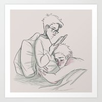 destiel Art Prints featuring Cuddling Destiel by Linneart