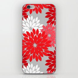 Modern Floral Kimono Print, Coral Red and Gray iPhone Skin