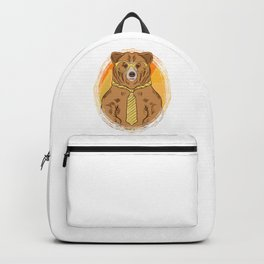 Business Bear in Glasses and Tie graphic for Bear Lover Backpack