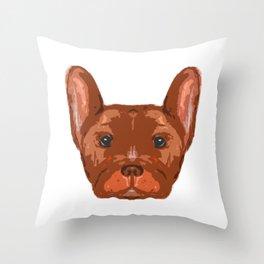 Orange Frenchie Top. Throw Pillow