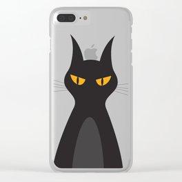 Halloween Vampire Cat Portrait Clear iPhone Case