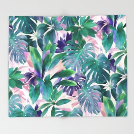 Pastel Summer Tropical Emerald Jungle Throw Blanket