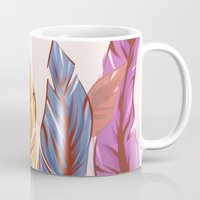 feathers Mugs featuring Feathers by melcsee