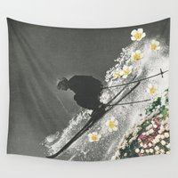 skiing Wall Tapestries featuring Spring Skiing by Sarah Eisenlohr