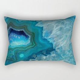 Teal Druzy Agate Quartz Rectangular Pillow