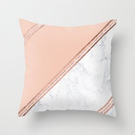 Modern stylish rose gold glitter geometric stripes blush pink white marble color block Throw Pillow