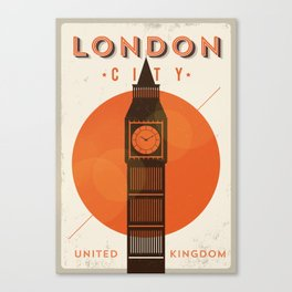 Vintage London Big Ben Poster Canvas Print