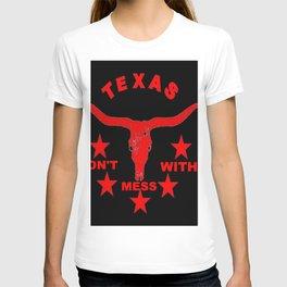Western Red & Black Texas Longhorn Logo Pattern Art T-shirt