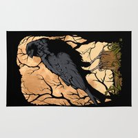 crow Area & Throw Rugs featuring Crow by Murat Sünger
